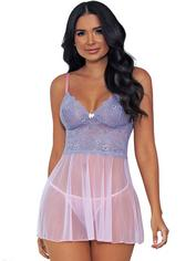 Escante Pink Lace and Mesh Babydoll Set , Pink, hi-res