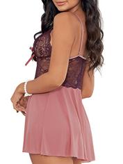 Escante Pink Lace and Mesh Babydoll Set , Purple, hi-res