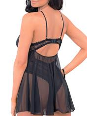 Escante Underwired Black Lace and Mesh Babydoll , Black, hi-res