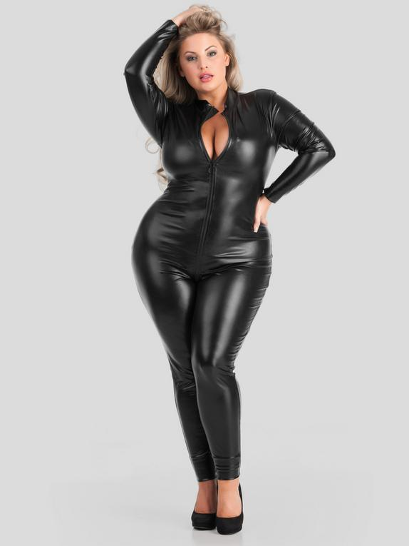 Lovehoney Fierce Wet Look Zipper Catsuit, Black, hi-res