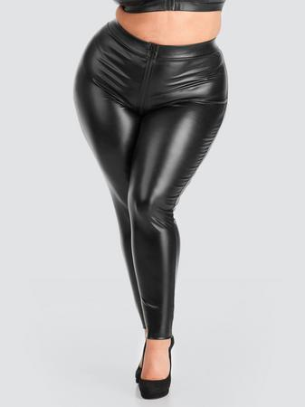 Lovehoney Plus Size Fierce Wet Look Zipper Leggings
