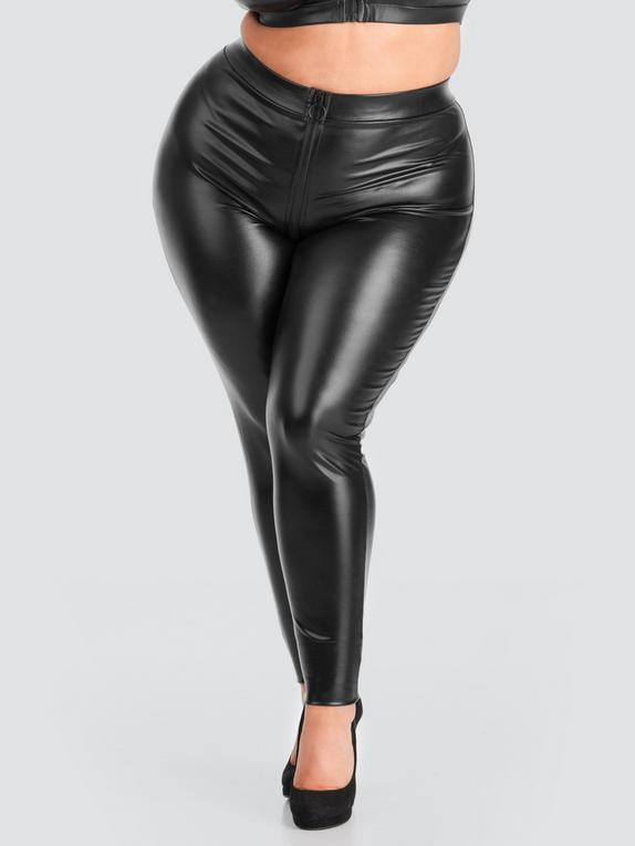 Lovehoney Fierce Wet Look Zip-Around Leggings, Black, hi-res