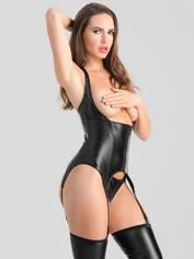 Lovehoney Fierce Wet Look Underbust Bustier Set, Black, hi-res