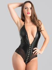 Lovehoney Fierce Plunging Mesh and Leather-Look Teddy, Black, hi-res
