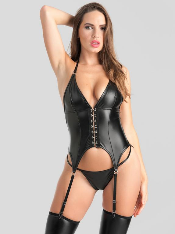 Lovehoney Fierce Leather-Look Halterneck Bustier Set, Black, hi-res