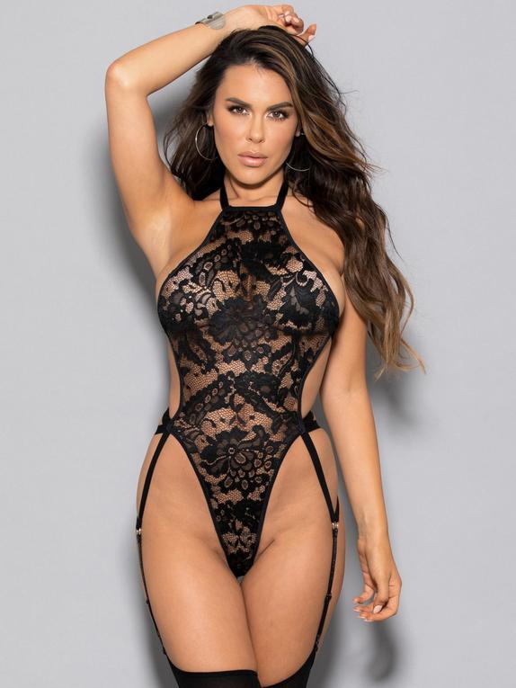 Escante Black High-Leg Open Back Lace Body, Black, hi-res