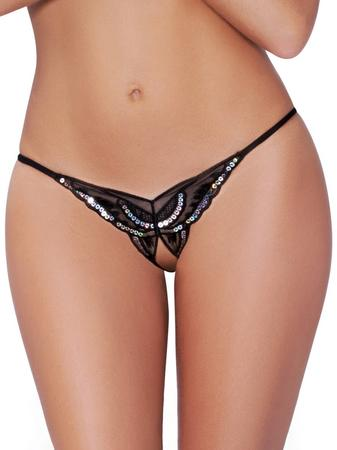 Seven 'til Midnight Plus Size Black Sequin Crotchless Butterfly Thong