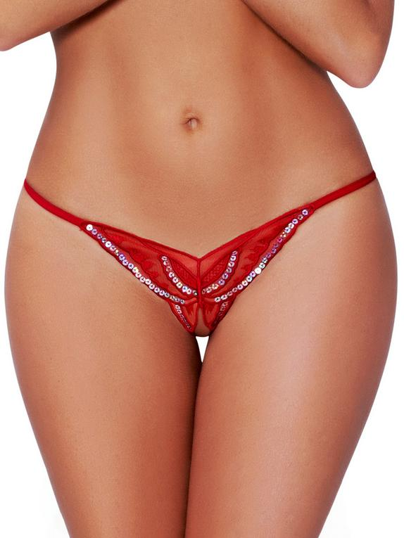 Seven 'til Midnight Black Sequin Crotchless Butterfly Thong, Red, hi-res