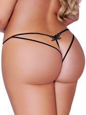 Seven 'til Midnight Black Sequin Crotchless Butterfly Thong, Black, hi-res