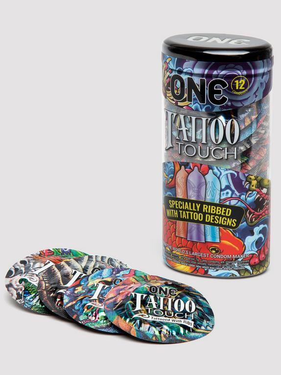 ONE Tattoo Touch Ribbed Condoms (12 Count), , hi-res
