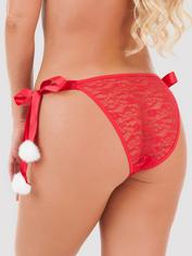 Lovehoney Plus Size Red Lace Pom-Pom Panties, Red, hi-res