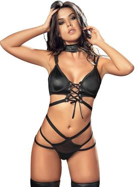 Mapale Black Wet Look Strappy Bra Set