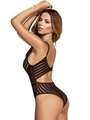 Mapale Black Sheer Striped Teddy, Black, hi-res