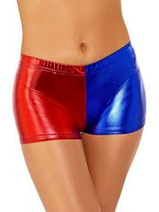 Fever Red and Blue Harlequin Metallic Hot Pants, Red, hi-res