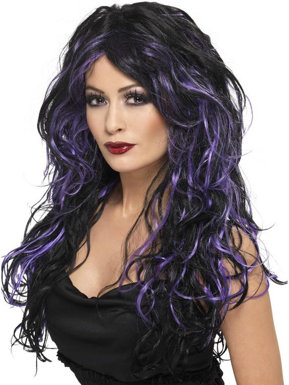 Fever Gothic Purple and Black Long Wig, Black, hi-res