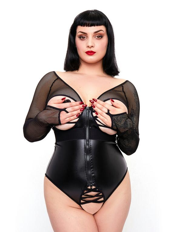 Brand X Plus Size Lucky Break Front-Fastening Wet Look and Fishnet Teddy, , hi-res