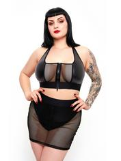 Brand X Grand Finale Wet Look and Fishnet Bra and Skirt Set, Black, hi-res