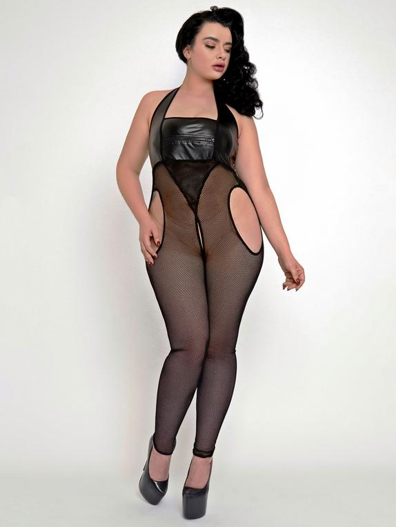 Brand X Spotlight Wet Look and Fishnet Bodystocking, Black, hi-res