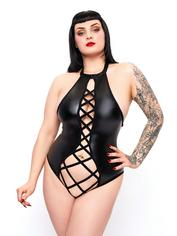 Brand X VIP Wet Look Caged Crotchless Body, Black, hi-res