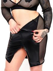 Brand X Double Entry Wet Look and Fishnet Skirt, Black, hi-res