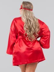 Lovehoney Plus Size Red Satin Robe Gift Set , Red, hi-res
