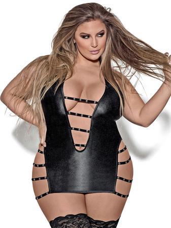 Exposed Lust Plus Size Black Fetish Wet Look Dress