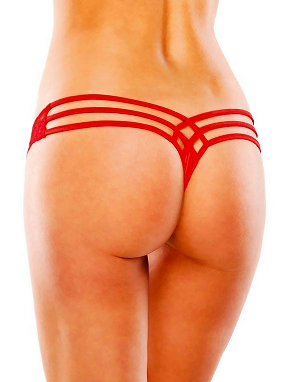 Coquette Plus Size Red Lace and Lycra Cage-Back Thong, Red, hi-res