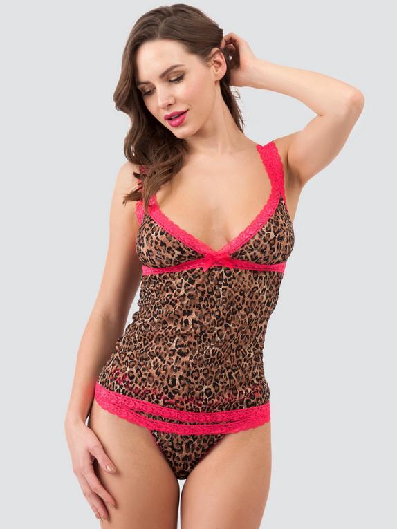 Lovehoney Flirty Leopard Print Lace Vest, Black, hi-res