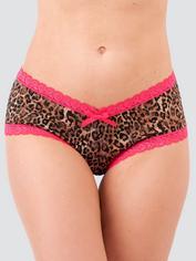 Lovehoney Flirty Leopard Print Lace Shorts, Black, hi-res