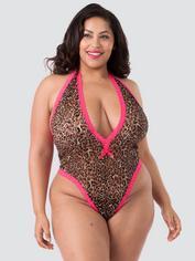 Lovehoney Flirty Leopard Print Lace Plunge Body, Black, hi-res