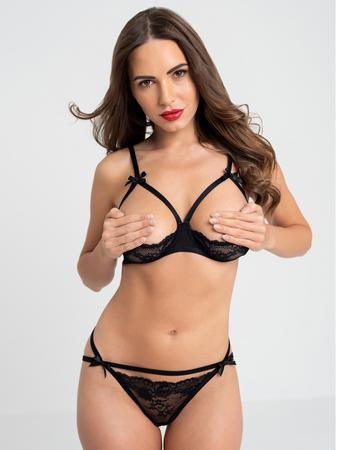 Lovehoney Black Quarter Cup Bra and Crotchless Panties Set