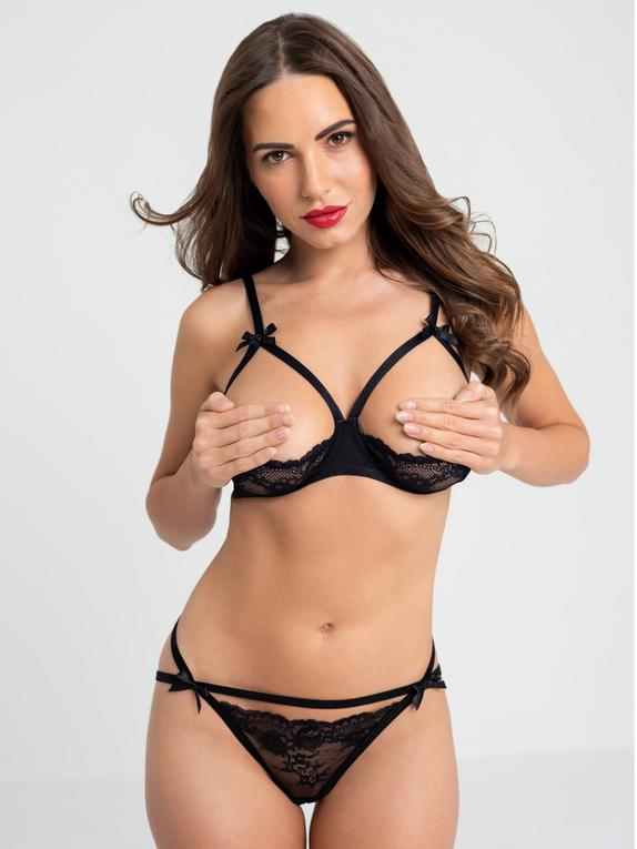 Lovehoney Black Quarter Cup Bra and Crotchless Panties Set, Black, hi-res