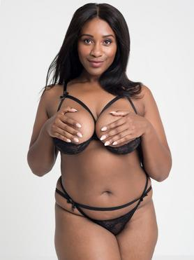 Lovehoney Plus Size Black Quarter Cup Bra and Crotchless Knickers Set