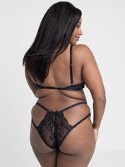 Lovehoney Black Quarter Cup Bra and Crotchless Knickers Set, Black, hi-res