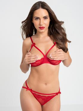 Lovehoney Red Quarter Cup Bra and Crotchless Knickers Set