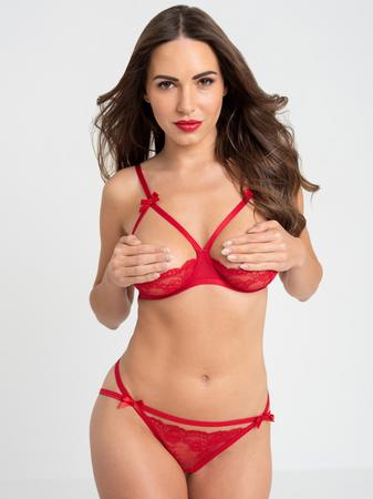 Lovehoney Red Quarter Cup Bra and Crotchless Panties Set