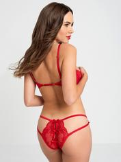 Lovehoney Black Quarter Cup Bra and Crotchless Knickers Set, Red, hi-res