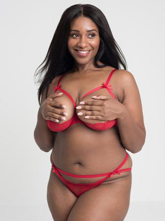 Lovehoney Plus Size Red Quarter Cup Bra and Crotchless Panties Set