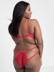 Lovehoney Black Quarter Cup Bra and Crotchless Panties Set, Red, hi-res
