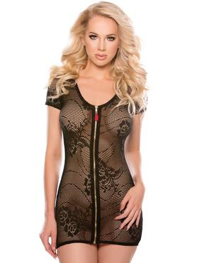 Allure Kitten Black Lace Zip-Up Dress