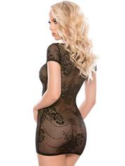 Allure Kitten Black Lace Zip-Up Dress, Black, hi-res