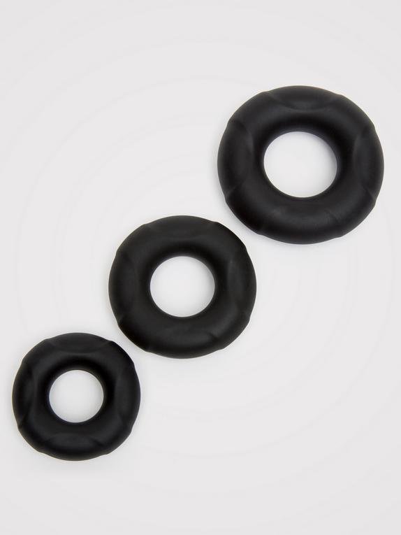 Lovehoney Ultra Thick Silicone Cock Ring Set (3 Pack), Black, hi-res