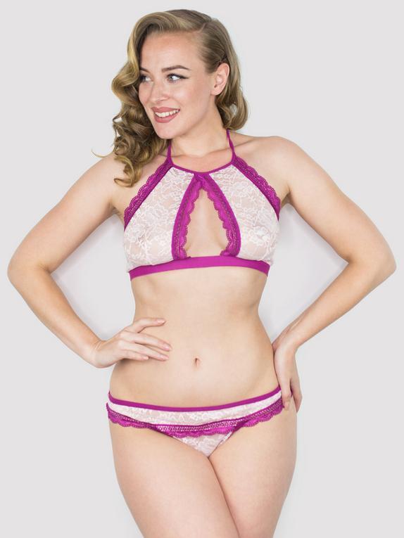 Lovehoney Flirty Blue Lace Halterneck Bra Set , Pink, hi-res