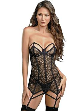 Dreamgirl Black Underwired Lace Harness Corset Set