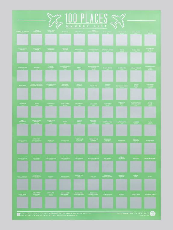 100 Places Scratch Off Bucket List Poster, , hi-res