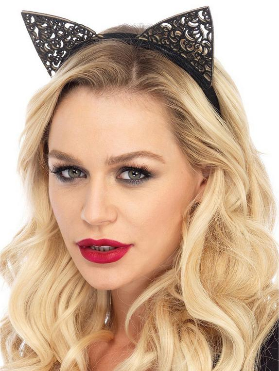 Leg Avenue Filigree Cat Ears, Black, hi-res