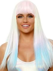 Leg Avenue Glow in the Dark Holographic Wig , Rainbow, hi-res