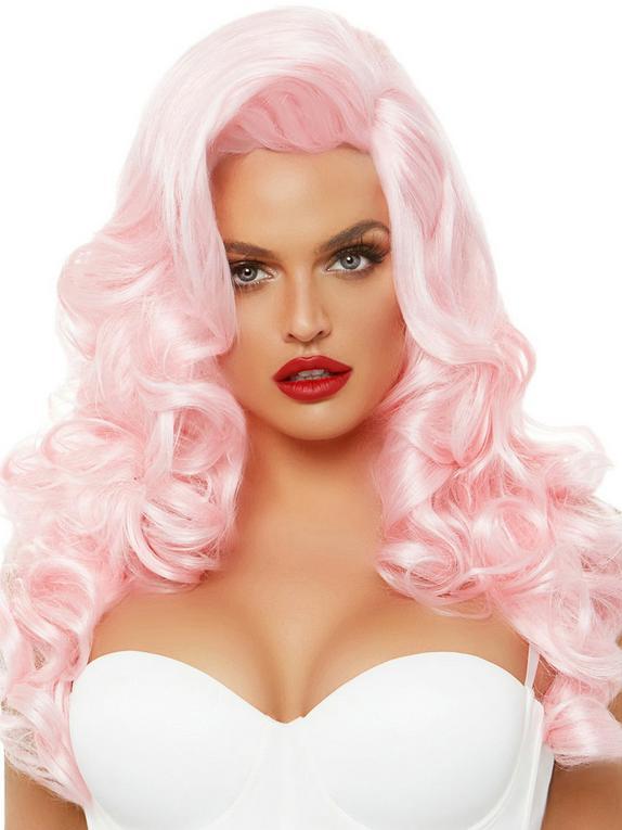 Leg Avenue Pink Bombshell Long Curly Wig, Pink, hi-res