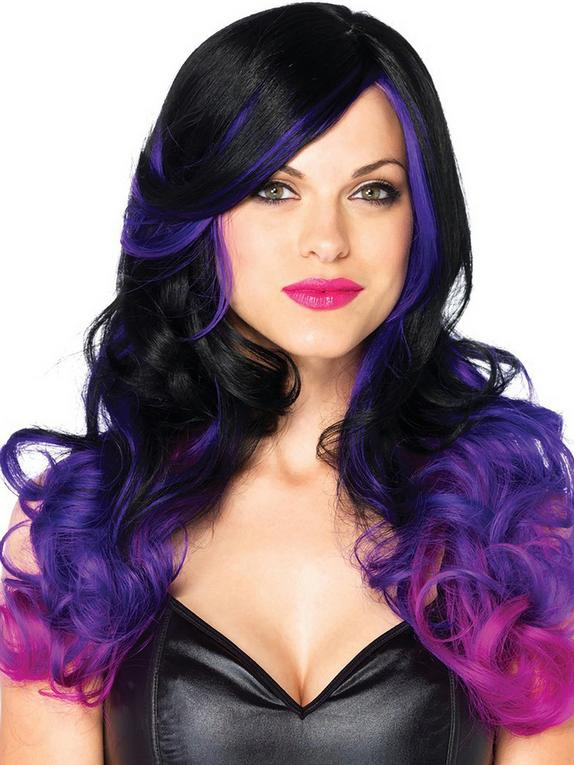 Leg Avenue Allure Long Wavy Black and Purple Ombre Wig, Black, hi-res
