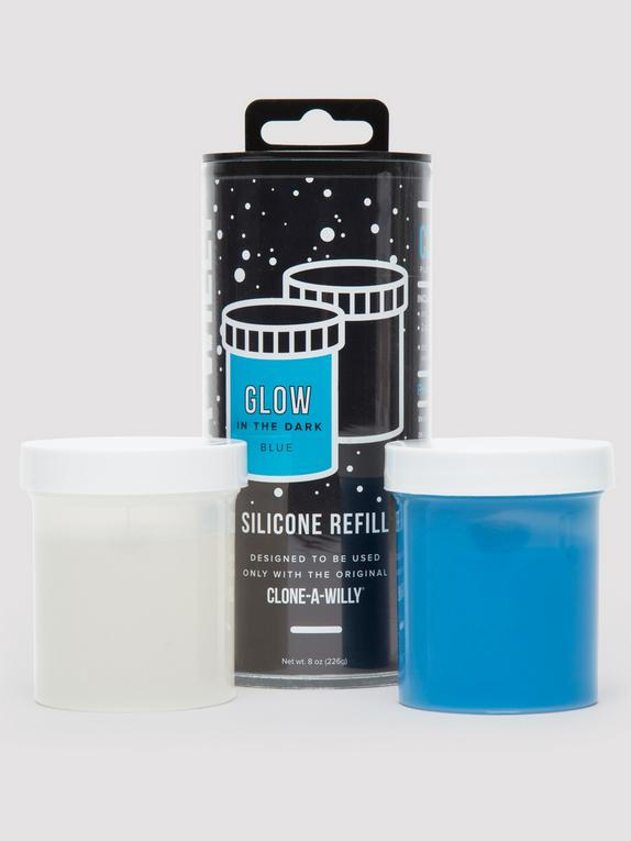 Clone-A-Willy Dark Blue Glow In the Dark Silicone Refill , Blue, hi-res